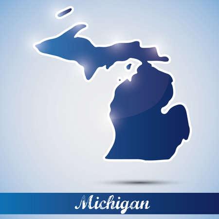 米国ミシガン州の形で光沢のあるアイコン