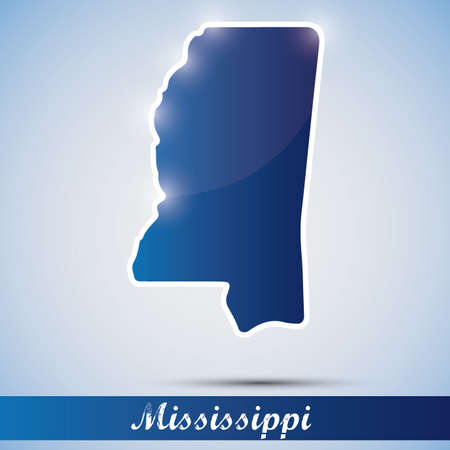 mississippi: shiny icon in form of Mississippi state, USA