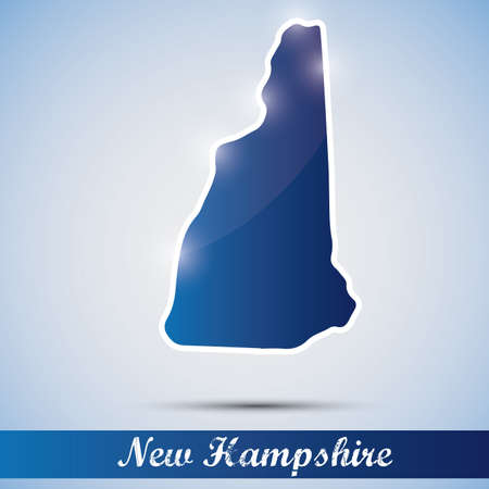 hampshire: shiny icon in form of New Hampshire state, USA Illustration