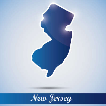 new jersey: shiny icon in form of New Jersey state, USA