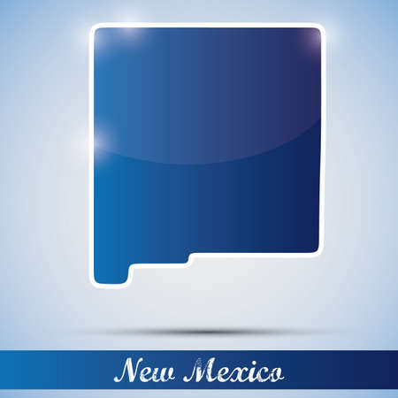 albuquerque: shiny icon in form of New Mexico state, USA Illustration