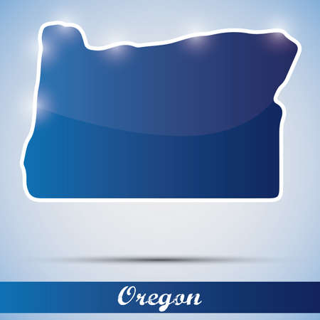 state of oregon: shiny icon in form of Oregon state, USA