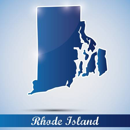 island state: shiny icon in form of Rhode Island state, USA Illustration