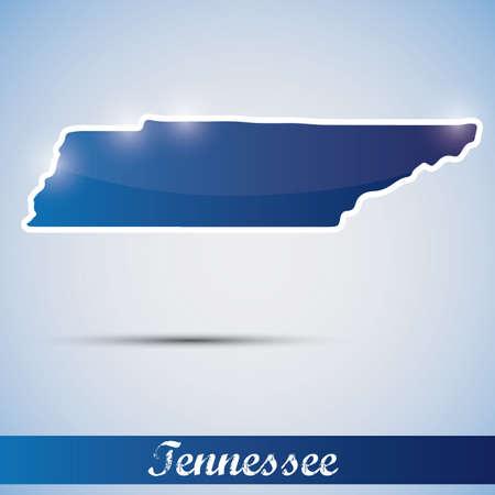 tennesse: Icono brillante en forma de estado de Tennessee, EE.UU.