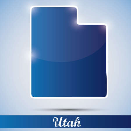shiny icon in form of Utah state, USA Vector