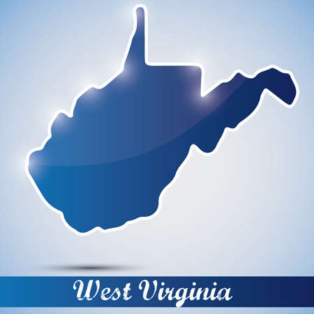 west virginia: shiny icon in form of West Virginia state, USA