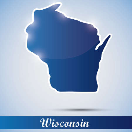 state of wisconsin: shiny icon in form of Wisconsin state, USA