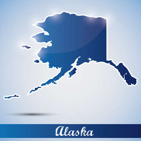 shiny icon in form of Alaska state, USA