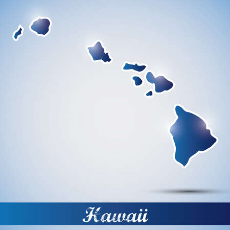 hawaii: shiny icon in form of Hawaii state, USA