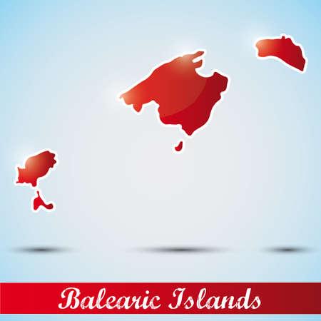 ibiza: shiny icon in form of Balearic Islands, Spain Illustration