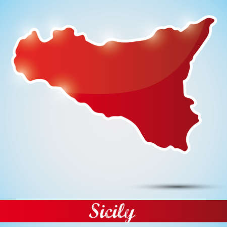 shiny icon in form of Sicily island, Italy Vector