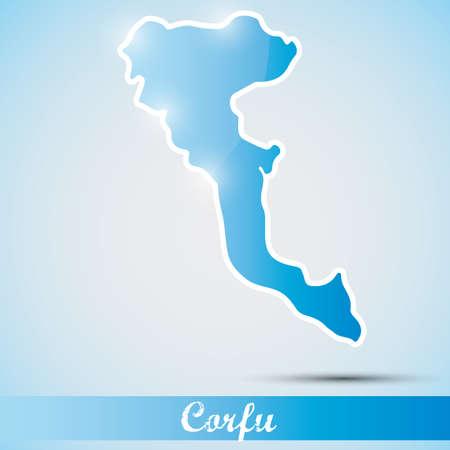 greek islands: shiny icon in form of Corfu island, Greece