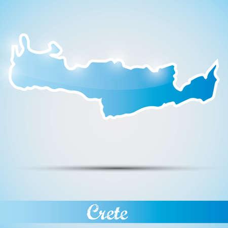 greek islands: shiny icon in form of Crete island, Greece