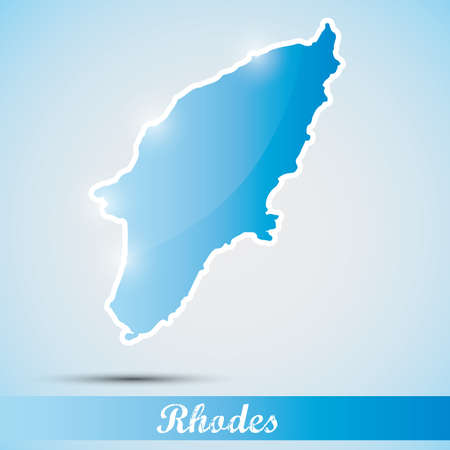 rhodes: shiny icon in form of Rhodes island, Greece Illustration