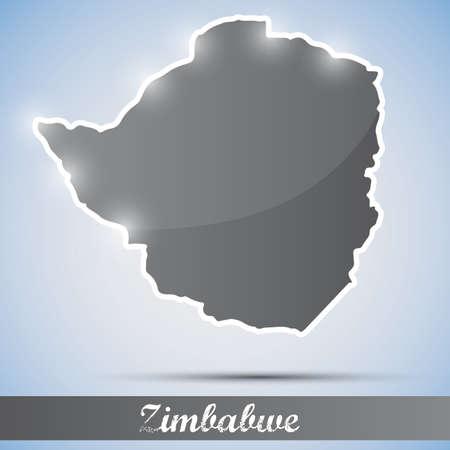 zimbabwe: Icono brillante en forma de Zimbabwe Vectores