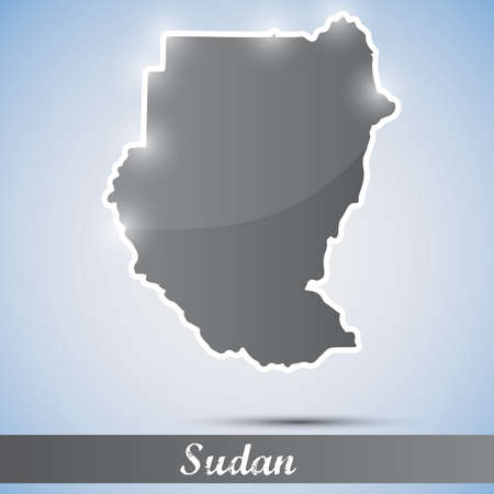 sudan: shiny icon in form of Sudan