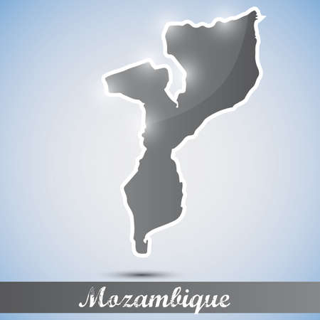 mozambique: shiny icon in form of Mozambique