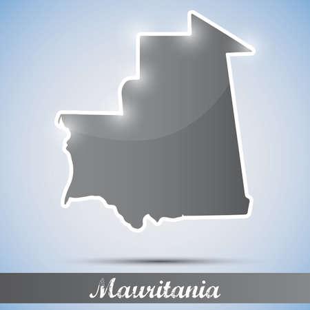 mauritania: shiny icon in form of Mauritania