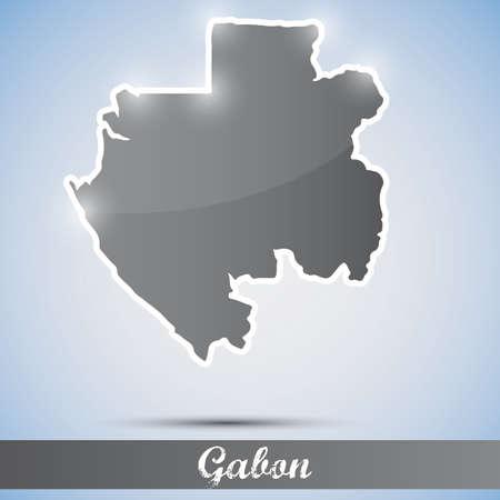 gabon: shiny icon in form of Gabon