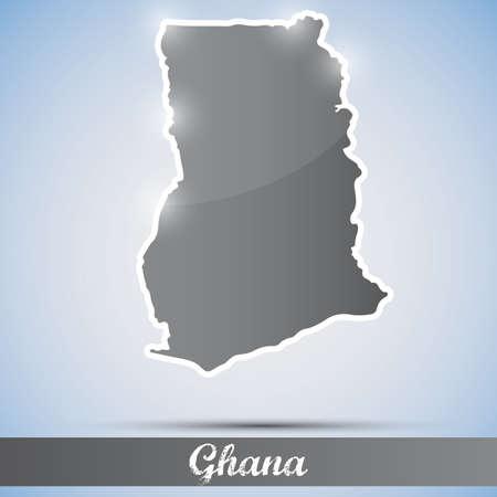 ghana: ic�ne brillant en forme de Ghana Illustration
