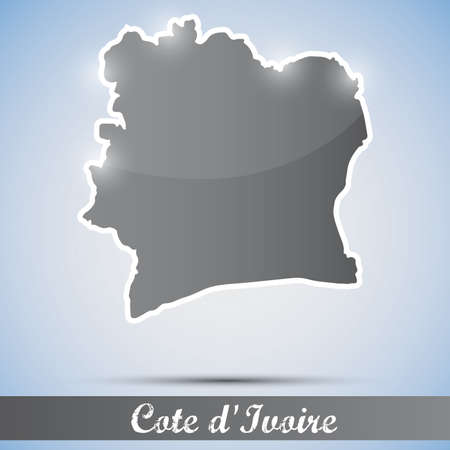 cote d ivoire: shiny icon in form of Cote d Ivoire Illustration