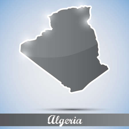 algeria: shiny icon in form of Algeria