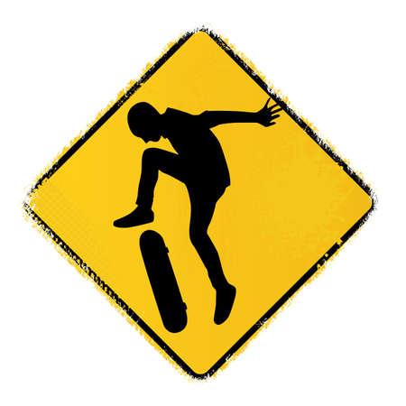 skateboard park: se?al de advertencia patineta