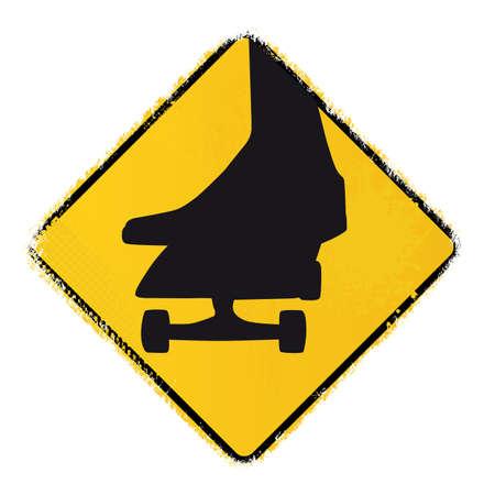 skateboard warning sign Vector