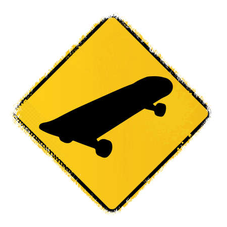 skateboard warning sign Vector