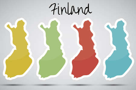 karte: stickers in form of Finland  Illustration