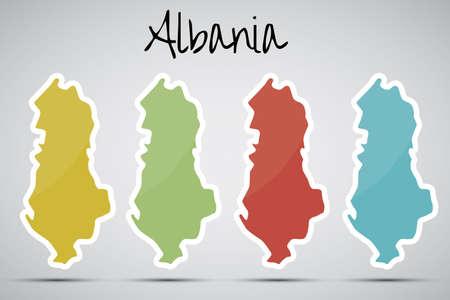 albanie: autocollants en forme de l'Albanie