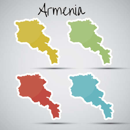 stickers in form of Armenia Vector