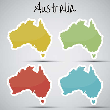 mapa: stickers in form of Australia Illustration