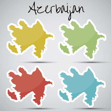 azerbaijani: stickers in form of Azerbaijan Illustration