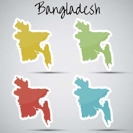 stickers in form of Bangladesh Vector