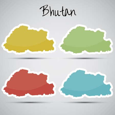 bhutan: stickers in de vorm van Bhutan