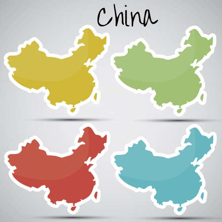 karte: stickers in form of China Illustration