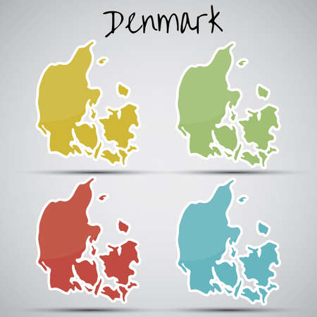 mapa: stickers in form of Denmark