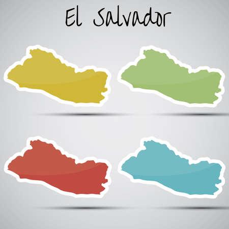 mapa de el salvador: pegatinas en forma de El Salvador Vectores