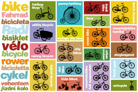 all types of bicycles Stock Vector - 20596741