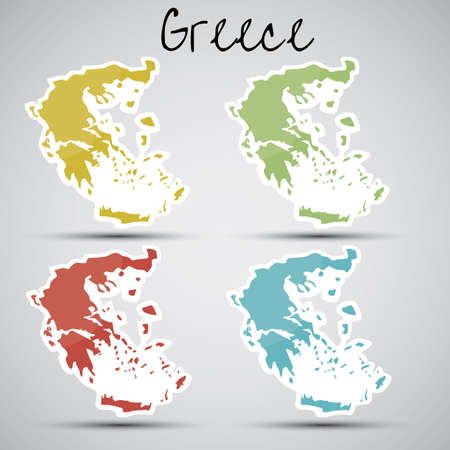 greece map: stickers in form of Greece