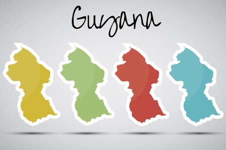 georgetown: stickers in form of Guyana