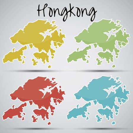 mapa china: pegatinas en forma de Hongkong Vectores