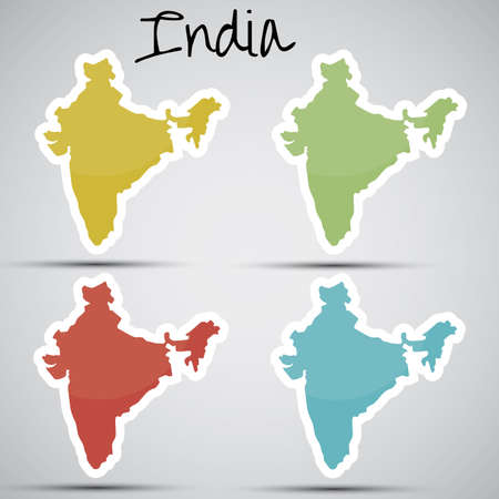karte: stickers in form of India  Illustration