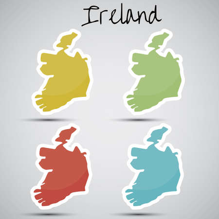 stickers in form of Ireland Vector