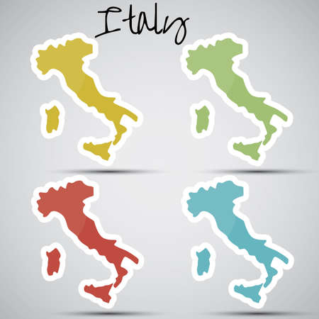 stickers in form of Italy Vector