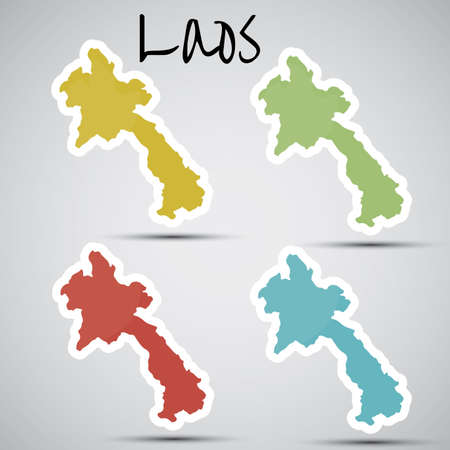 lao: stickers in form of Laos Illustration