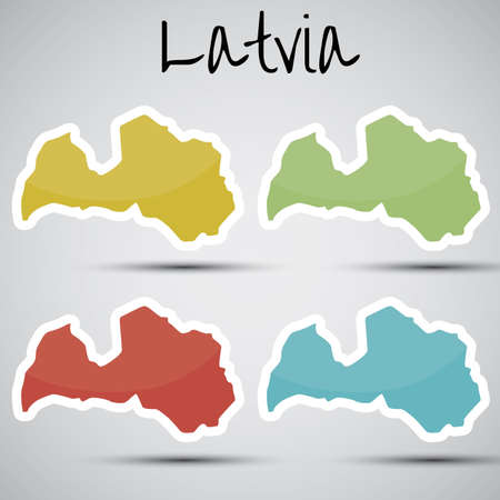 karte: stickers in form of Latvia