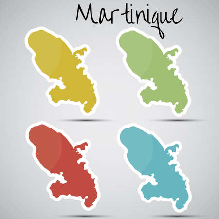 martinique: stickers in form of Martinique