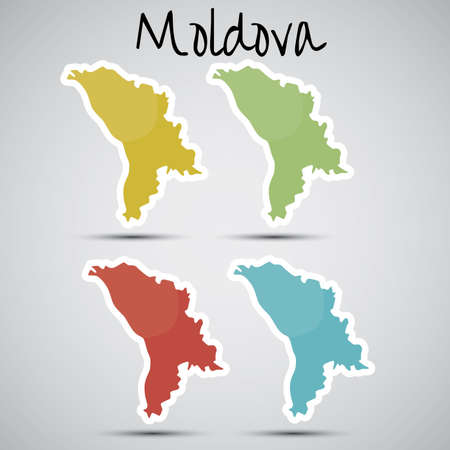 moldovan: stickers in form of Moldova
